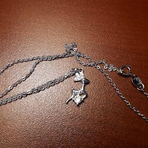 Raindeer Sterling Silver Cubic Zirconia Necklace